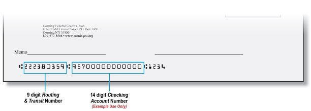 Check image showing the routing and account number locations